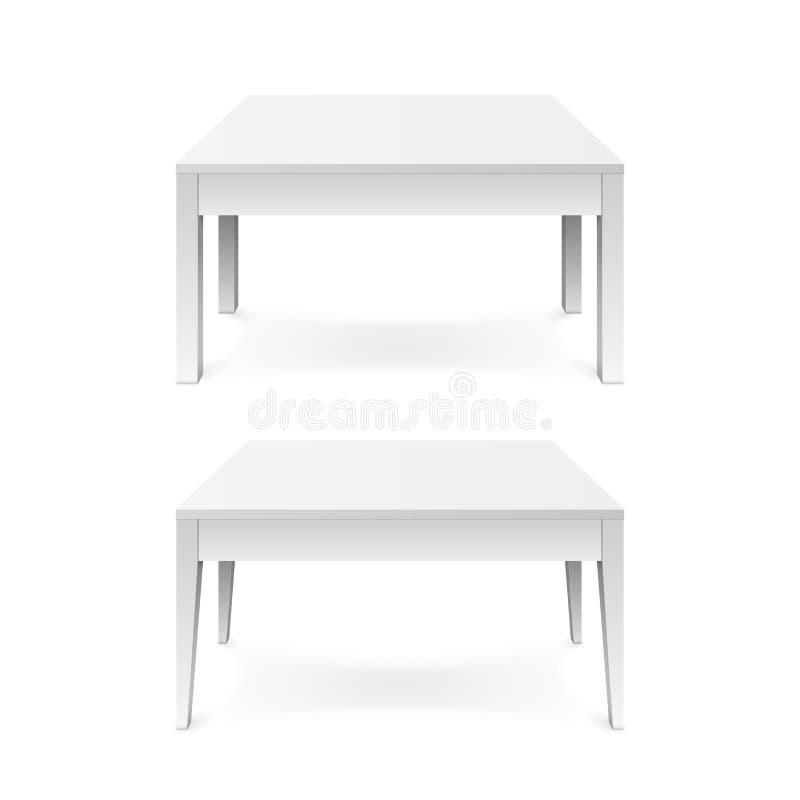 Weißer Bürotisch mit dem Schatten lokalisiert auf weißem Hintergrund Auch im corel abgehobenen Betrag stock abbildung