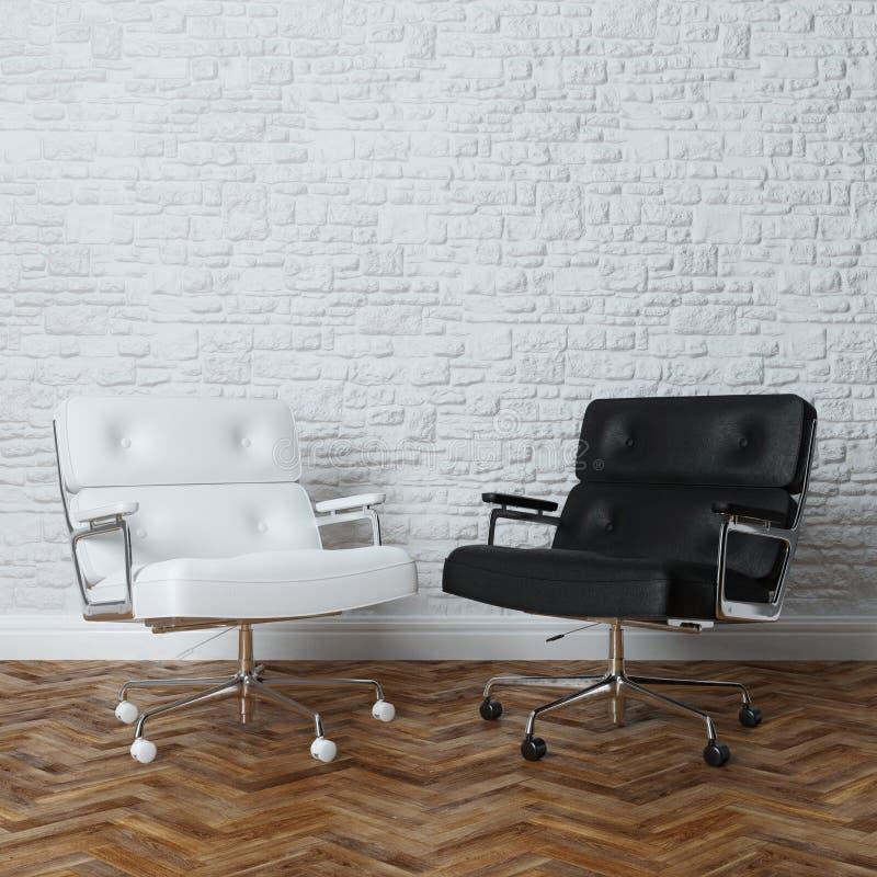 Weißer Backsteinmauer-Büro-Innenraum mit zwei Ledersesseln lizenzfreie stockfotografie