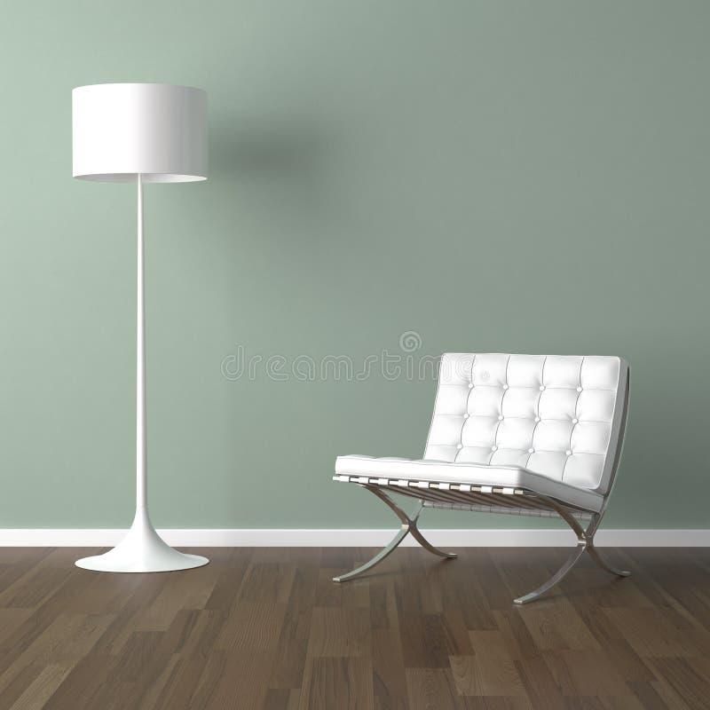 Weißer Barcelona-Stuhl und Lampe ein vektor abbildung