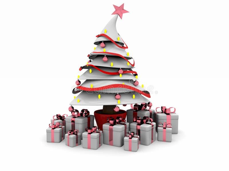 weißer Baum Weihnachten3d lizenzfreie abbildung