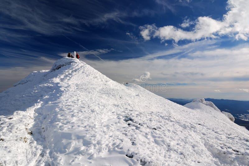Weißer Berg in der Winterzeit, Karpatenlanscape lizenzfreie stockfotografie