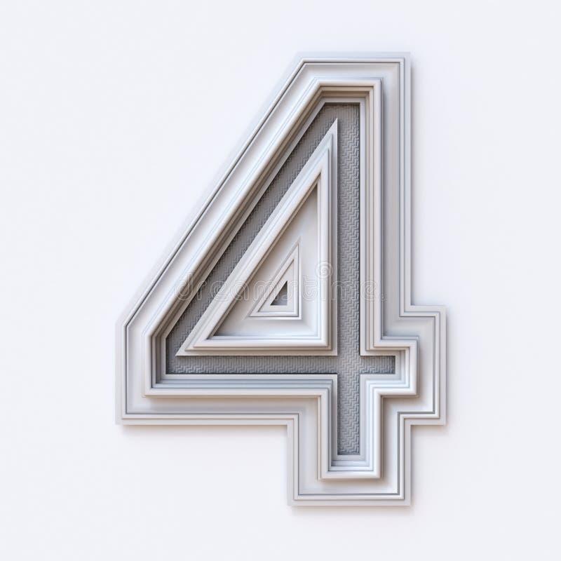 Weißer Bilderrahmenguß Nr. 4 VIER 3D stock abbildung