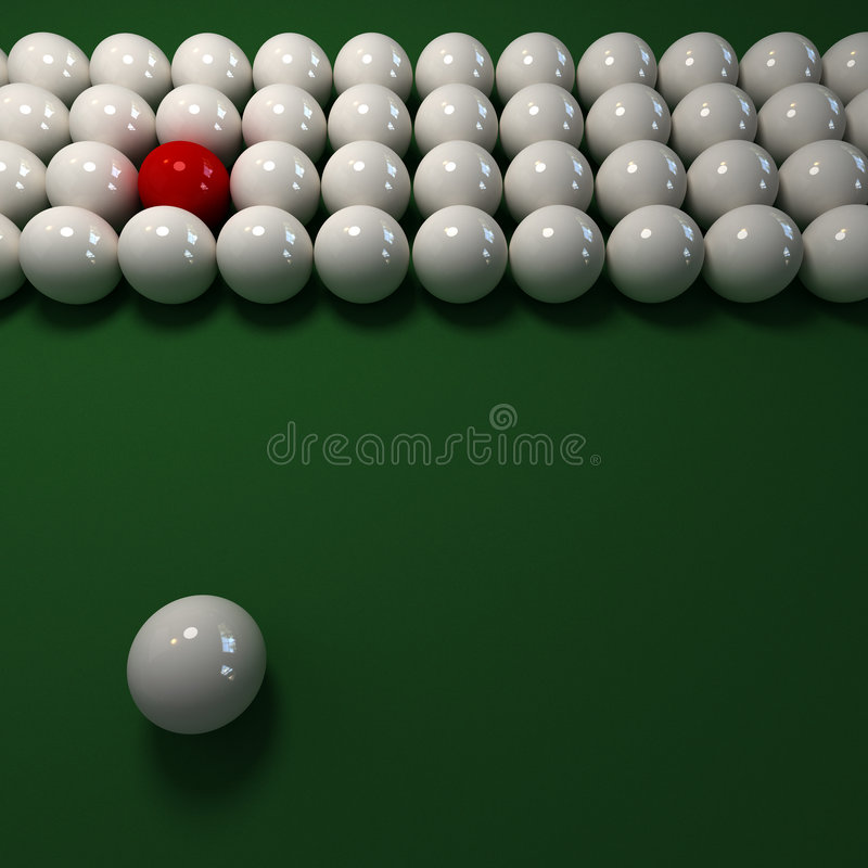 Weißer Billiardkugelaufbau stock abbildung