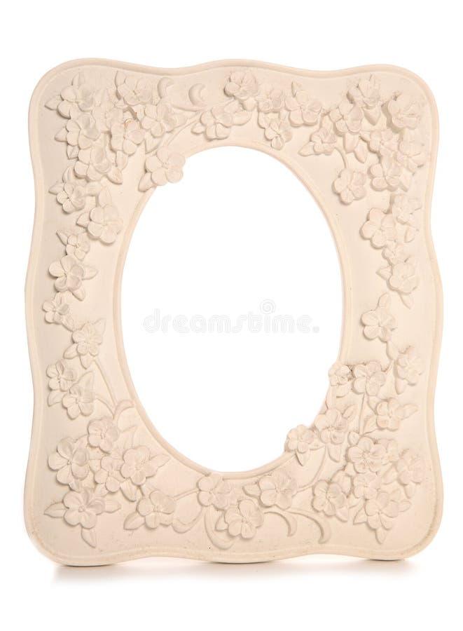 Weißer BlumenweinleseBilderrahmen stockbild