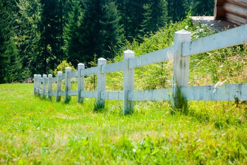 Weißer Bretterzaun auf einer Bergwiese stockbilder
