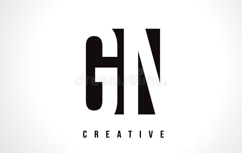 Weißer Buchstabe Logo Design GN G N mit schwarzem Quadrat lizenzfreie abbildung