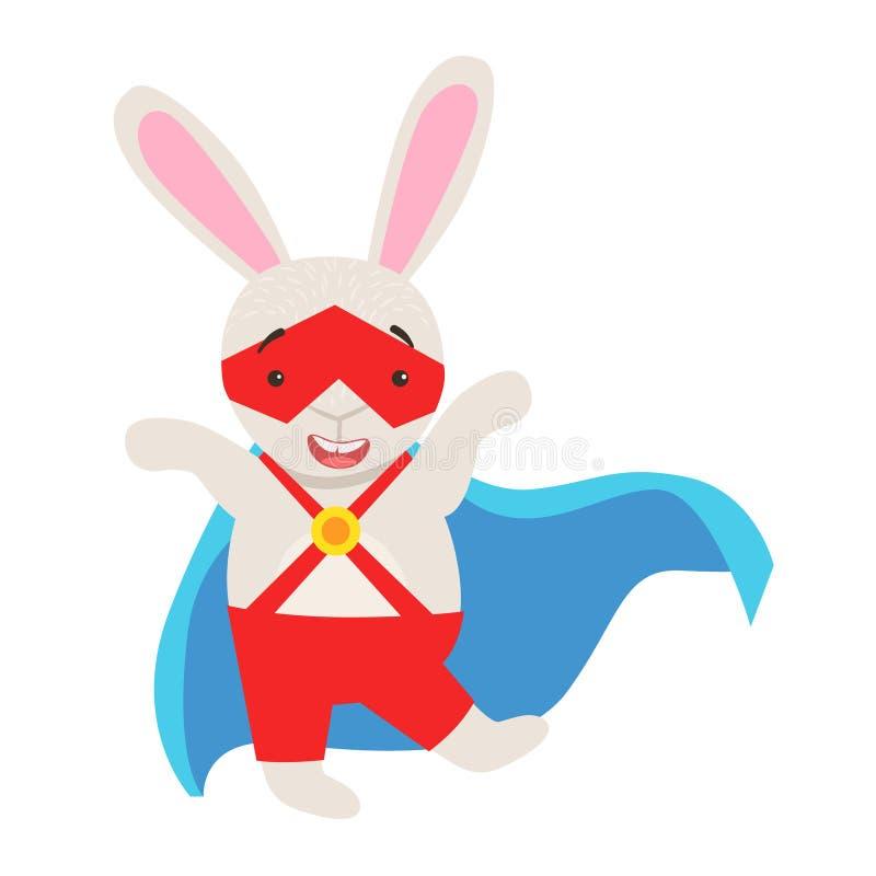 Weißer Bunny Animal Dressed As Superhero mit einem Kap-komischen verdeckten Mitglied einer Bürgerwehrs-Charakter vektor abbildung