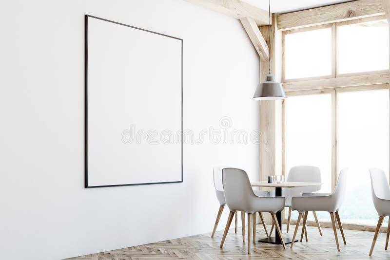 Weißer Caféinnenraum, Dachbodenfenster, Plakat, Ecke lizenzfreie abbildung
