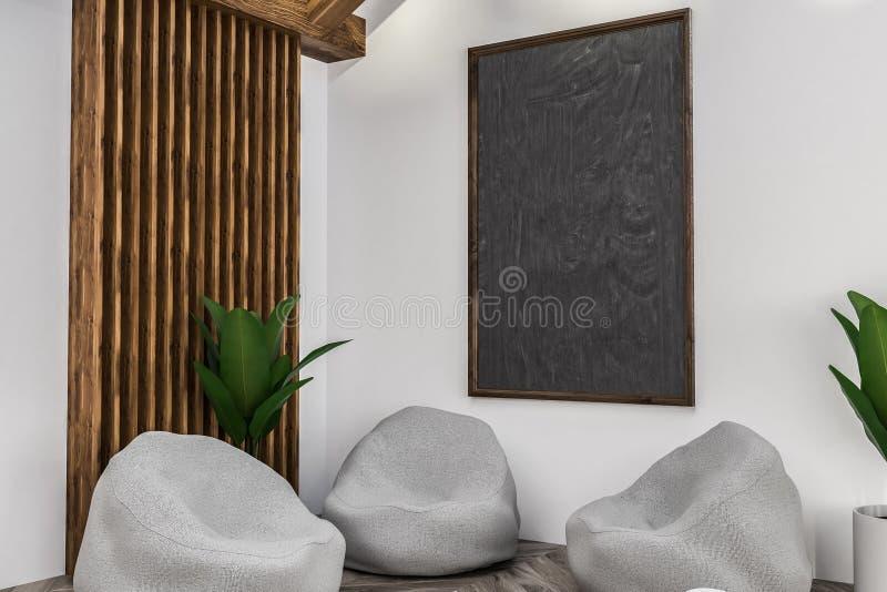 Weißer Caféinnenraum, -lehnsessel und -tafel vektor abbildung