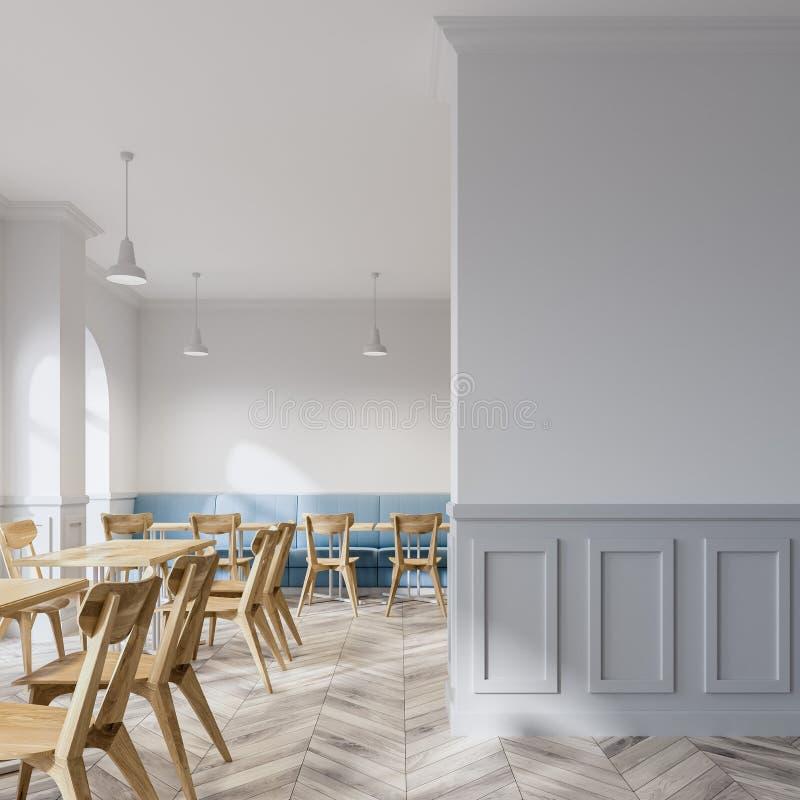 Weißer Caféinnenraum, Marinesofa stock abbildung