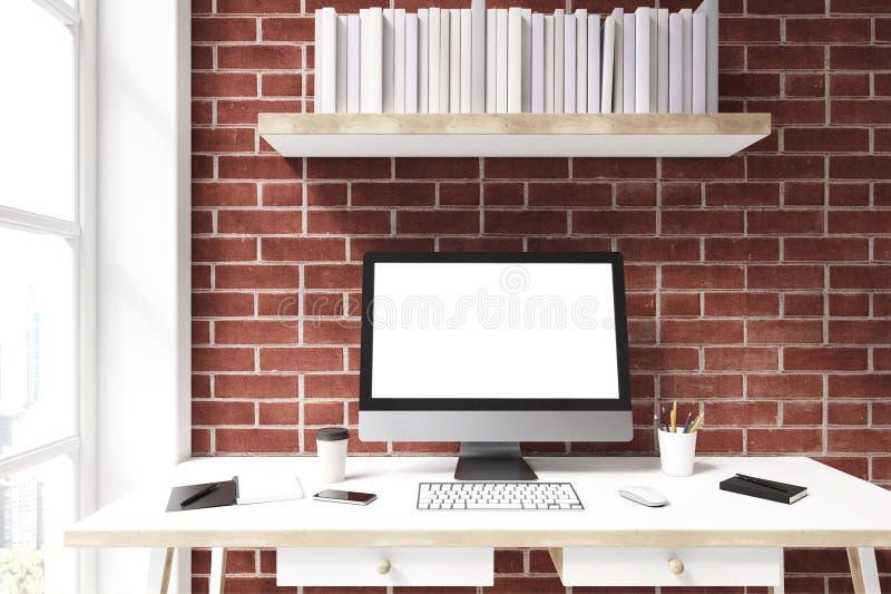 Weißer Computermonitor gegen die Backsteinmauer, vorder vektor abbildung
