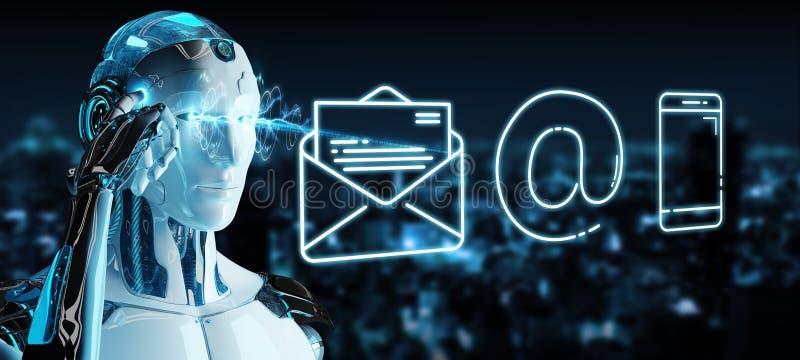 Weißer Cyborg, der dünne Linie Kontaktikone verwendet lizenzfreie abbildung