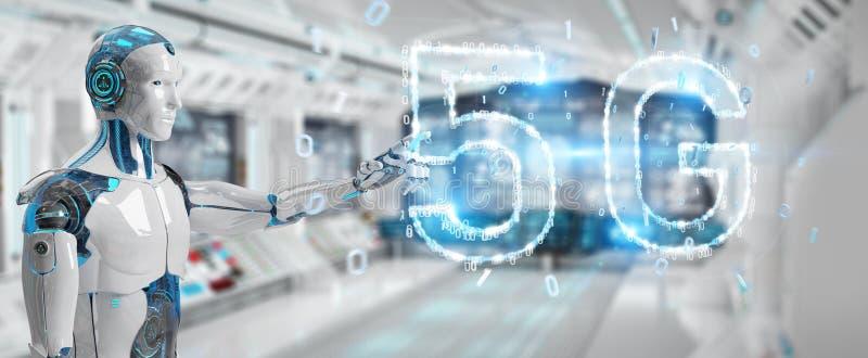 Weißer Cyborg, der digitale Wiedergabe des Hologramms 3D des Netzes 5G verwendet vektor abbildung