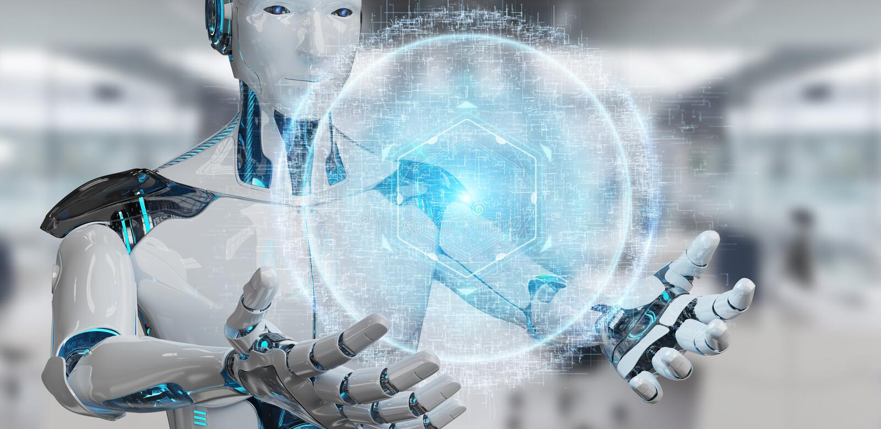 Weißer Cyborg, der digitales Augenüberwachungs-Hologramm 3D renderin verwendet lizenzfreie abbildung