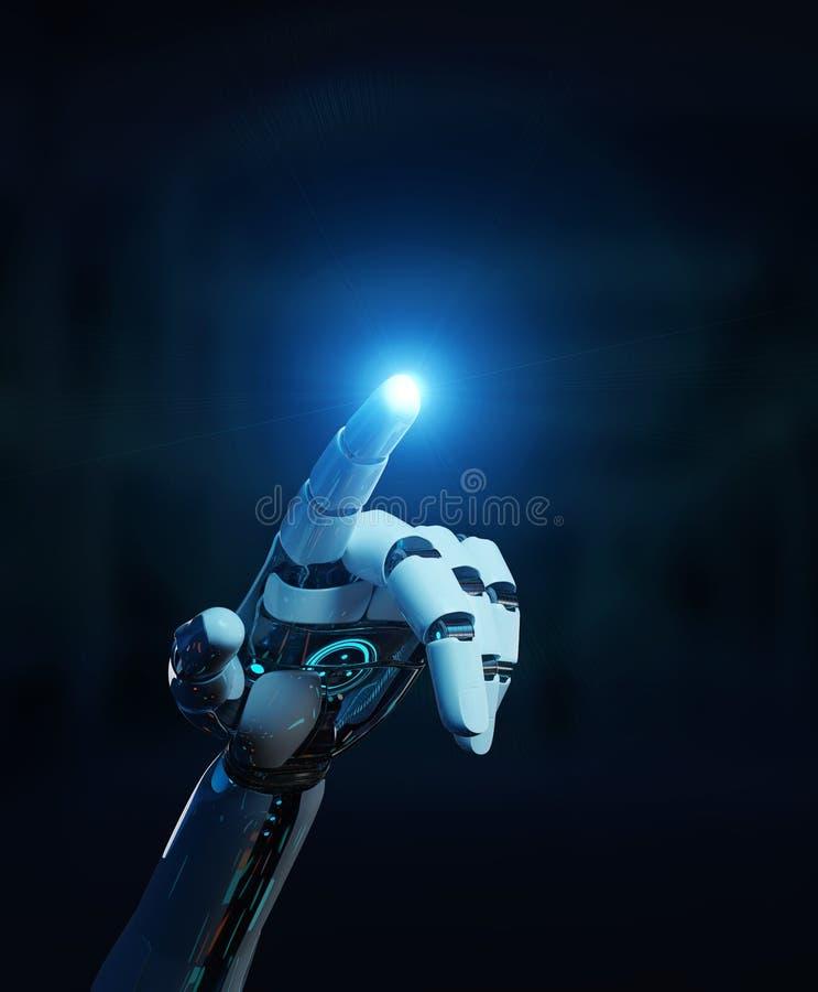 Weißer Cyborg, der seine Wiedergabe des Fingers 3D zeigt lizenzfreie abbildung