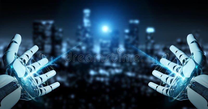 Weißer Cyborg, der seine Wiedergabe der Hand 3D öffnet stock abbildung