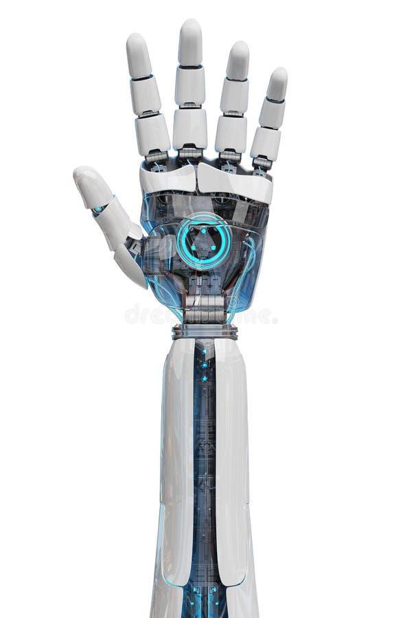 Weißer Cyborg, der seine Wiedergabe der Hand 3D öffnet lizenzfreie abbildung