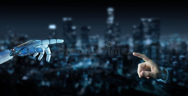 Weißer Cyborgfinger ungefähr, zum der menschlichen Wiedergabe des Fingers 3D zu berühren stock abbildung