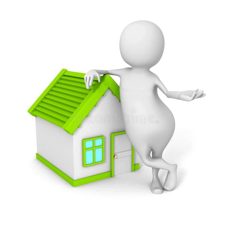 Weißer 3d Grundstücksmakler Person With Little House stock abbildung