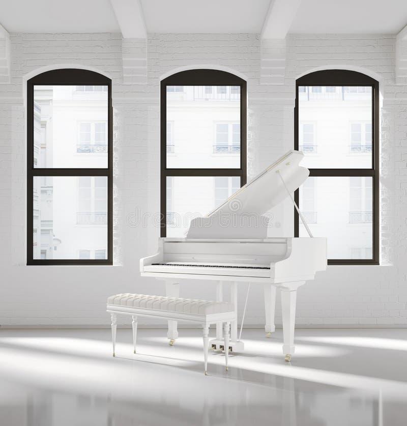Weißer Dachbodeninnenraum mit einem weißen Klavier stockbild