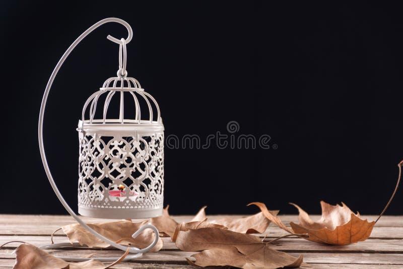 Weißer dekorativer Käfig mit der Kerze, die auf Retro- hölzernem Schreibtisch mit gefallenen trockenen Blättern hängt und brennt lizenzfreie stockfotografie