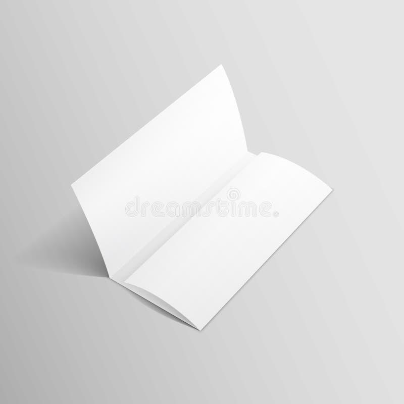 Weißer dreifachgefalteter Broschüren-Broschüren-Zickzack gefalteter Flieger lizenzfreie abbildung