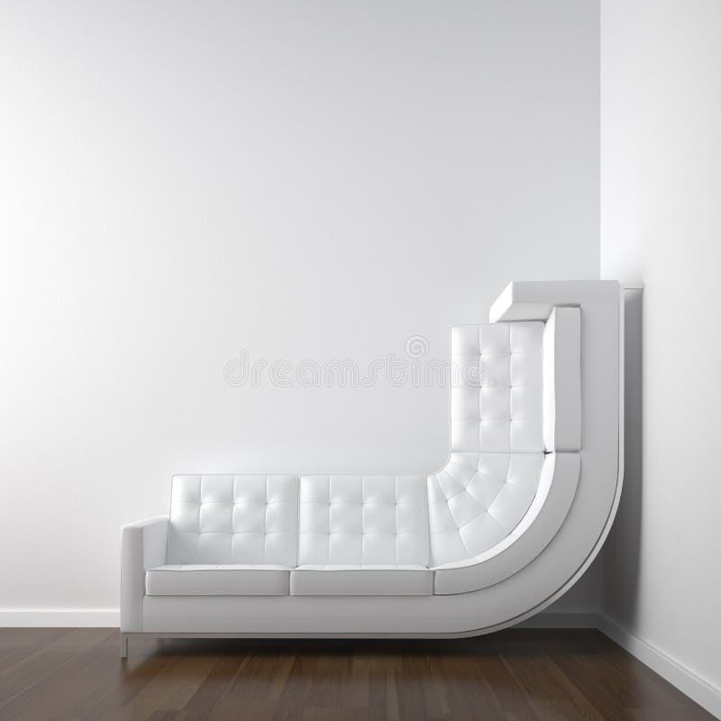 Weißer Eckraum mit Couch lizenzfreie abbildung