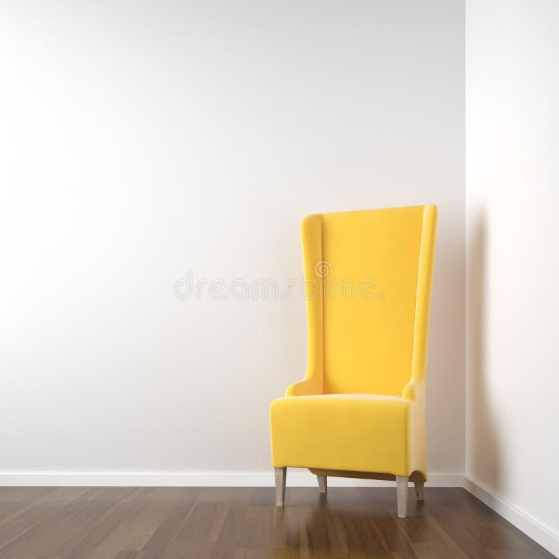 Weißer Eckraum mit gelbem Stuhl lizenzfreie abbildung