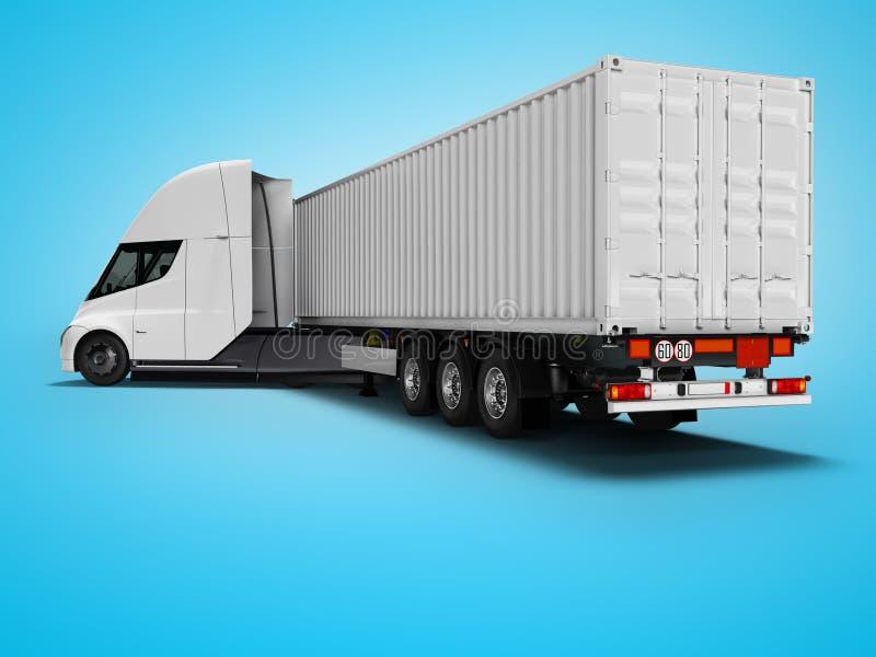 Weißer elektrischer Traktor mit Anhänger für reisende hintere Ansicht 3d der langen Abstände auf blauem Hintergrund mit Schatten  lizenzfreie abbildung
