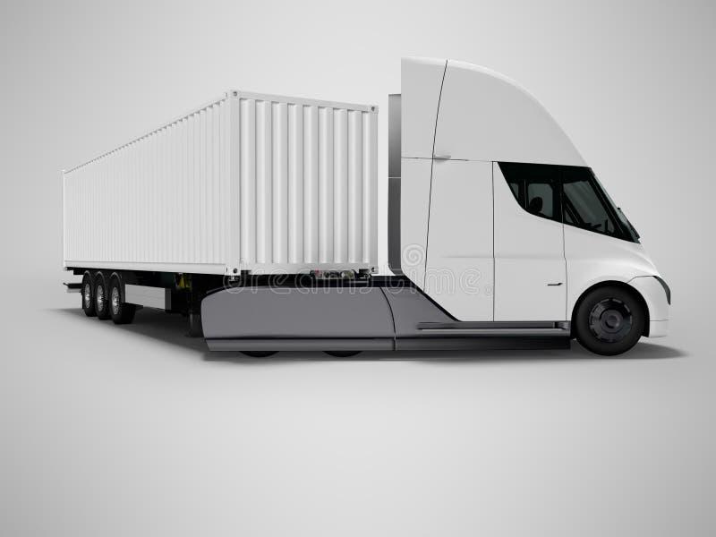 Weißer elektrischer Traktor mit Anhänger für reisende lange Abstände 3d auf grauem Hintergrund mit Schatten übertragen stock abbildung