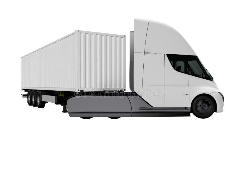 Weißer elektrischer Traktor mit Anhänger für reisende lange Abstände 3d auf weißem Hintergrund keinen Schatten übertragen stock abbildung