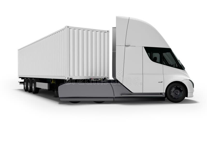Weißer elektrischer Traktor mit Anhänger für reisende lange Abstände 3d auf weißem Hintergrund mit Schatten übertragen stock abbildung