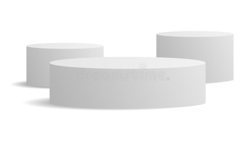 Weißer Ellipszylinder-Vektormockup mit Schatten 3d-Minimalistischer Wettbewerb, isoliert auf einem Hintergrund Podiumsplattform f vektor abbildung