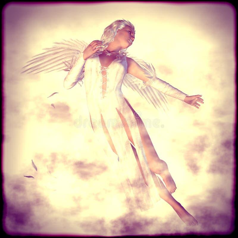 Weißer Engel in den Wolken vektor abbildung