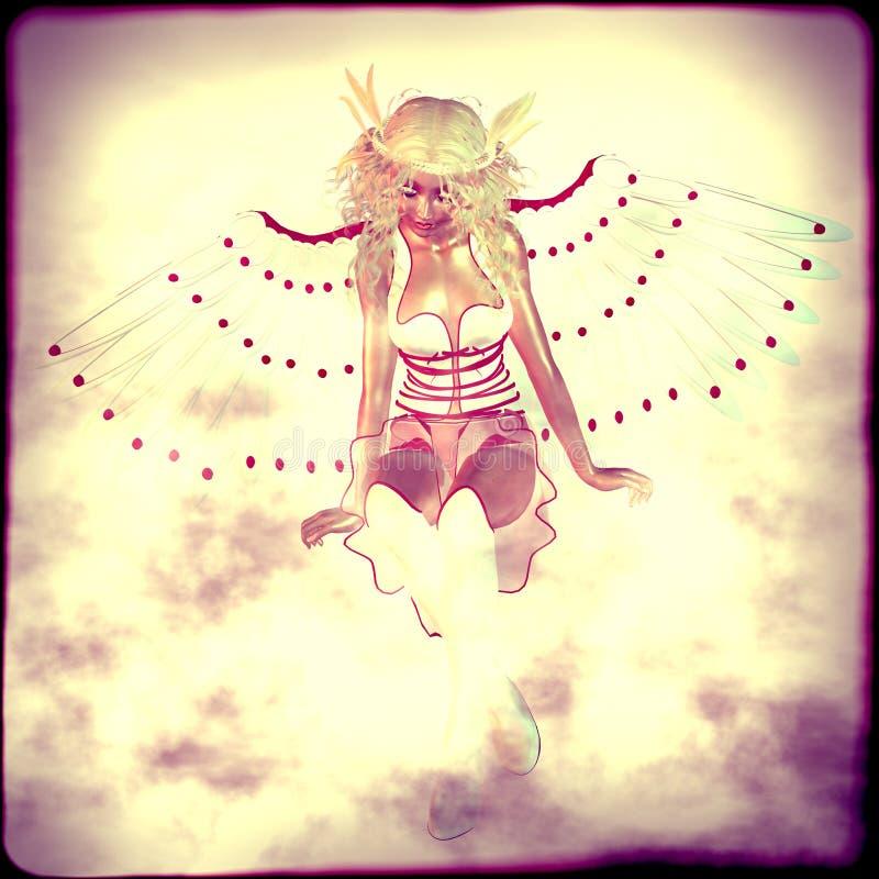 Weißer Engel in den Wolken lizenzfreie abbildung