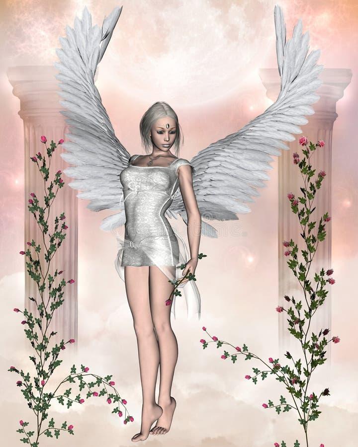 Weißer Engel mit Rosen. vektor abbildung