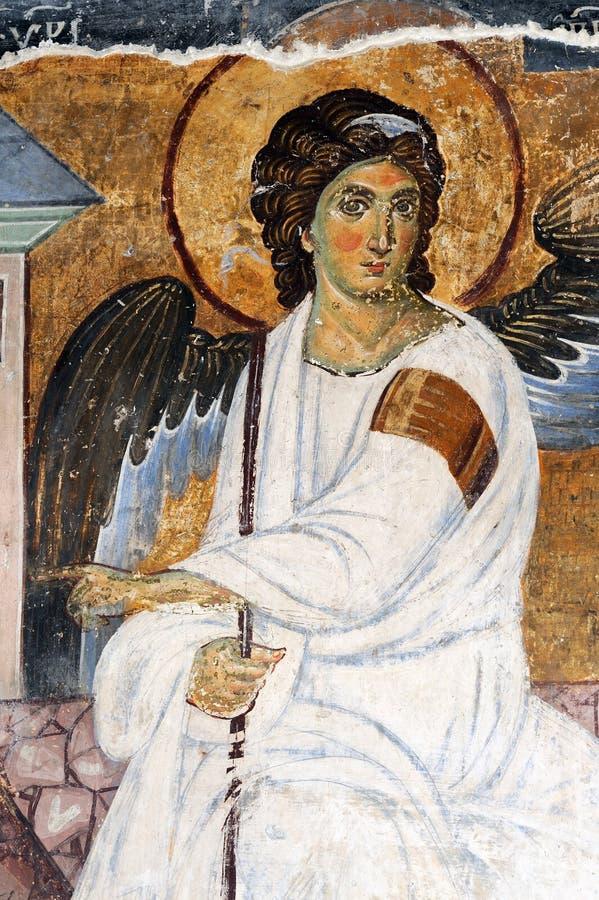 Weißer Engel oder Myrrhbearers auf Christs Grab lizenzfreie stockbilder