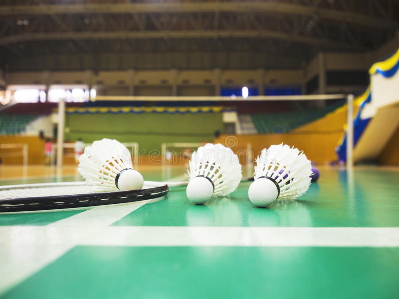 Weißer Federball auf dem grünen Boden stockbild