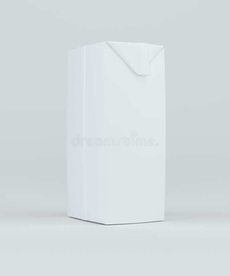 Weißer freier Raum des Milch- oder Saftkartonverpackungspaket-Kastens Wiedergabe 3d vektor abbildung