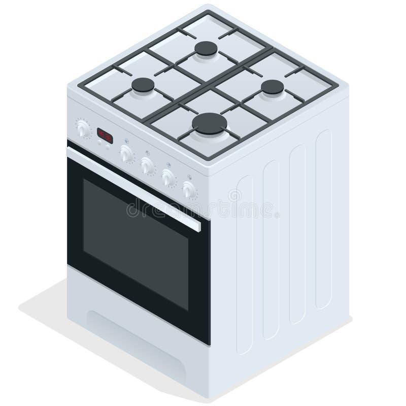 Weißer Gasofen Freier stehender Kocher Flache isometrische Illustration des Vektors 3d stock abbildung