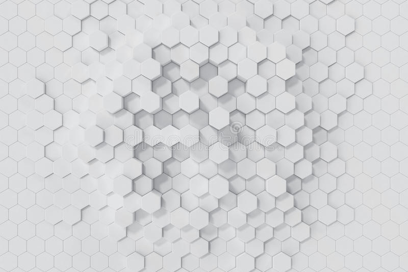 Weißer geometrischer sechseckiger abstrakter Hintergrund Wiedergabe 3d vektor abbildung