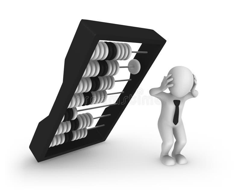 weißer Geschäftsmann 3d und großer schwarzer Abakus lizenzfreie abbildung