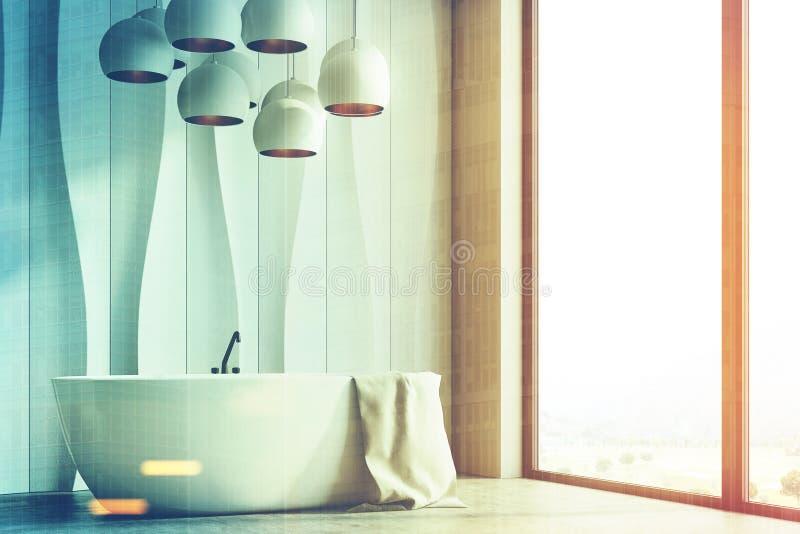 Weißer gewellter Badezimmerinnenraum, versieht getont mit Seiten stock abbildung