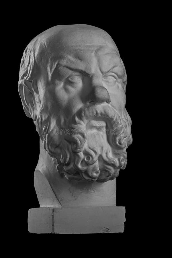 Weißer Gipsfehlschlag, bildhauerisches Porträt von SOCRATES lizenzfreie stockfotos