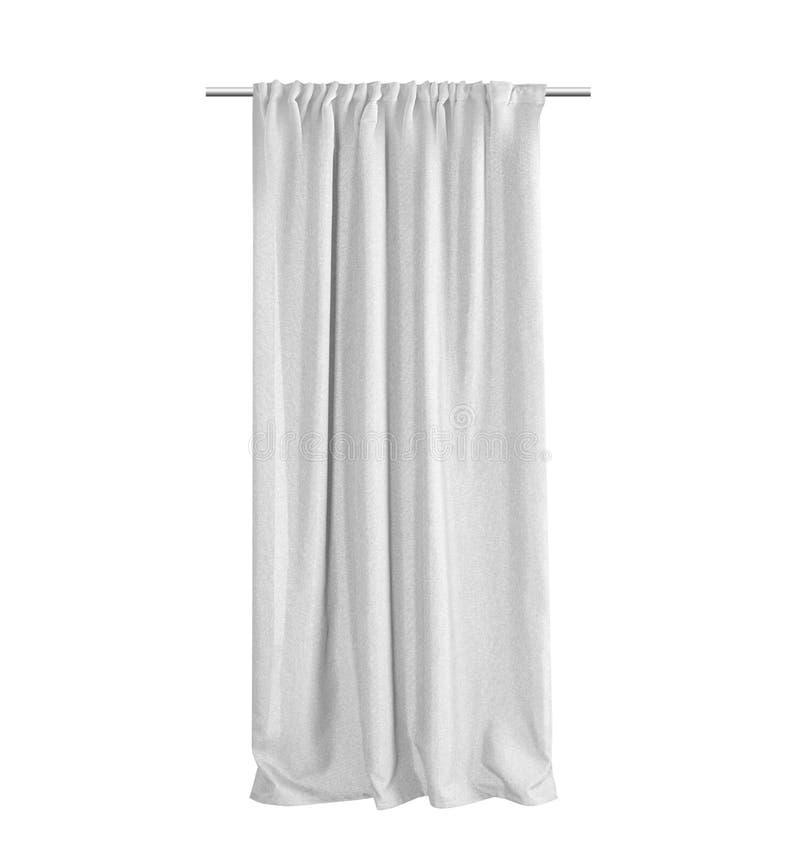 Weißer grauer Vorhang lokalisiert auf einem weißen Hintergrund lizenzfreies stockbild