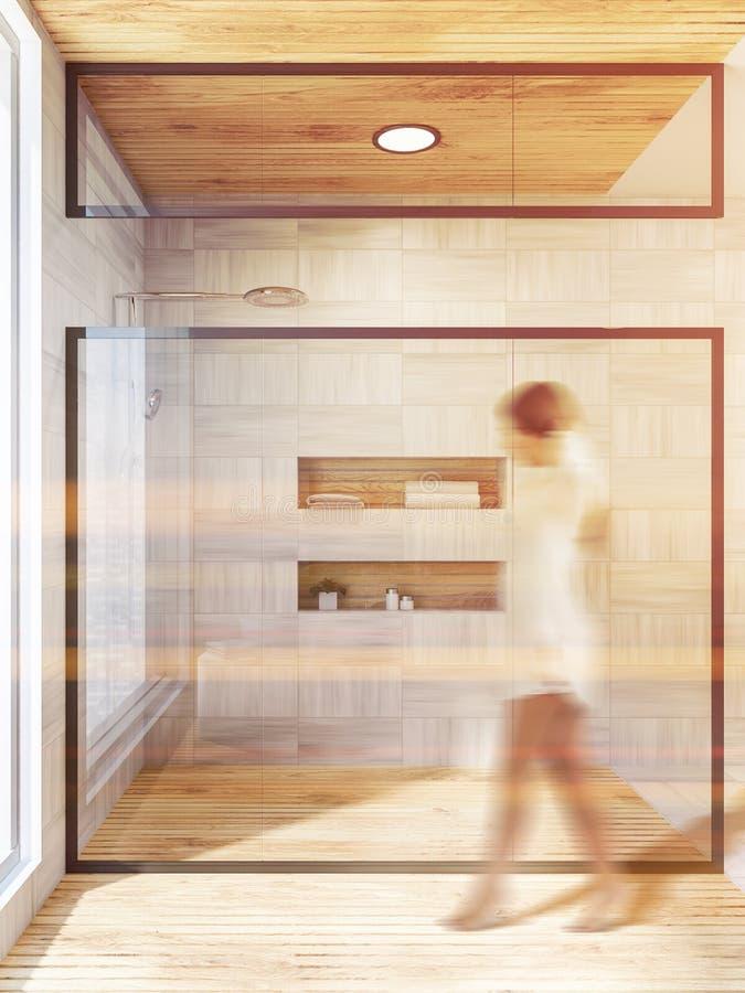 Weißer hölzerner Badezimmerinnenraum, Dusche, Frau lizenzfreie stockfotografie