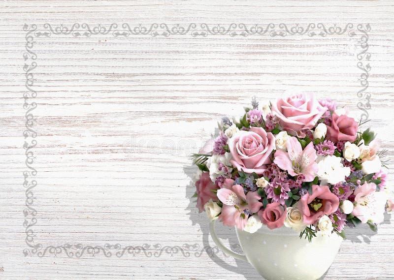 Weißer hölzerner Hintergrund der Weinlese mit Blumen in einem Weinlesetopf schäbigen Chic stockfoto