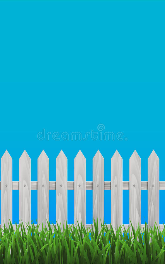 Weißer hölzerner Platten-Zaun lizenzfreie abbildung