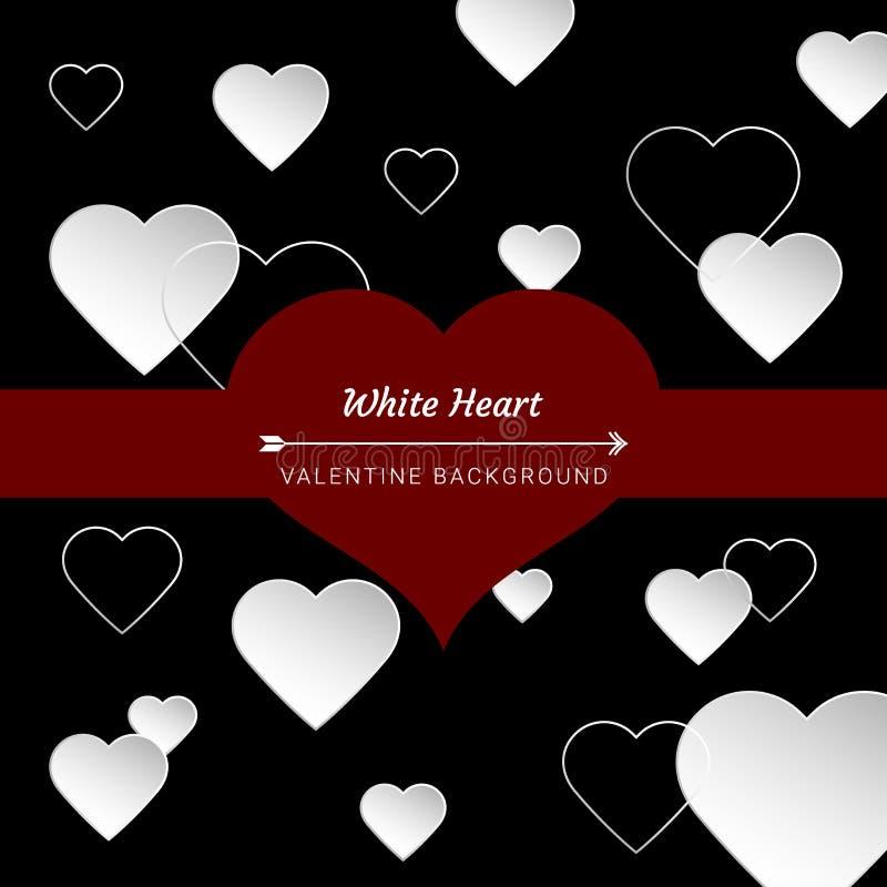 Weißer Herzliebespfeil Valentinstag, schwarzer Hintergrund, Grußkarte, roter Raum des Textes, Plakate, Broschüre, Fahnen, Tapete lizenzfreie abbildung