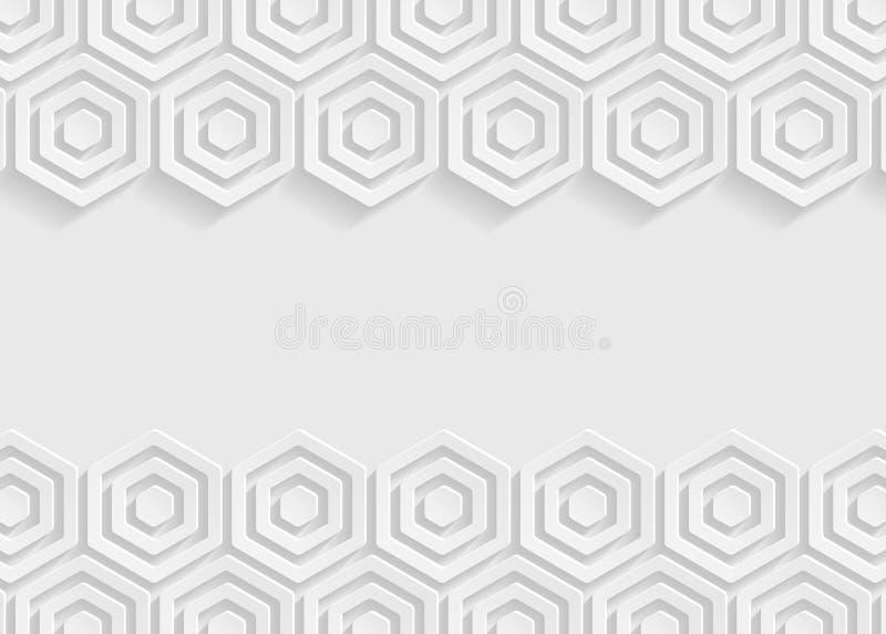 Weißer Hexagonpapier-Zusammenfassungshintergrund lizenzfreie abbildung